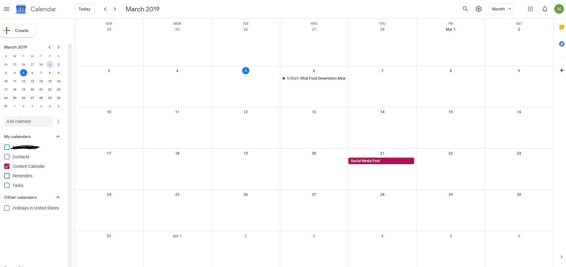 A content calendar in Google Calendar