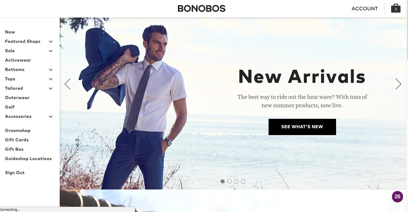 A page from Bonobos' website that shows clear copy on a call-to-action button.