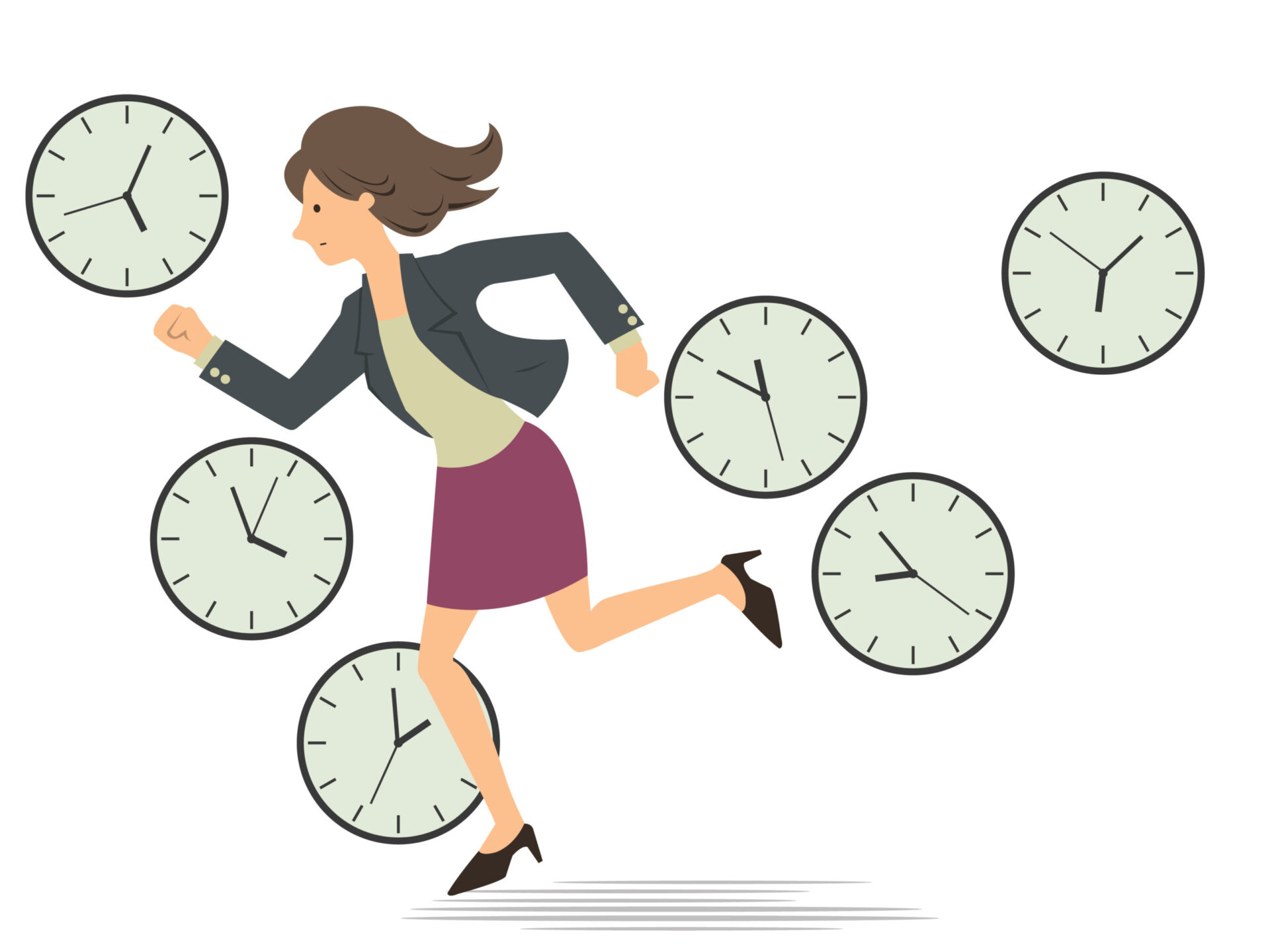 Illustration of woman racing against time representing Evergreen Content is a time saving content governance strategy