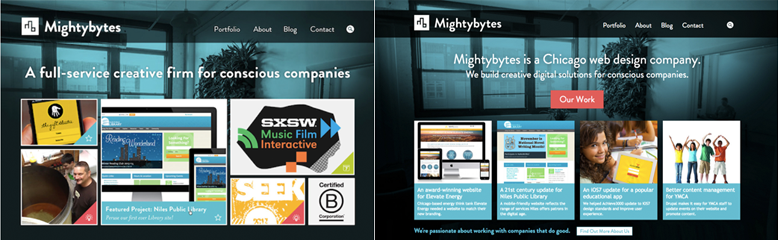 Side by side screenshots of the mightybytes homepage with different layouts