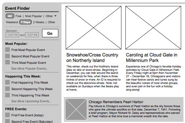 A detail from a wireframe for Explore Chicago shows several types of editorial slots and tools to help website visitors find what they are looking for.