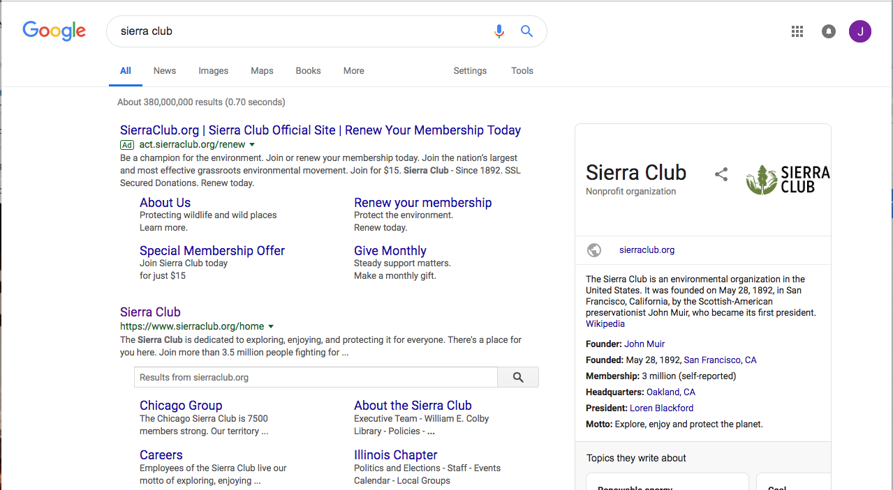 Sierra Club is highly visible in search engines