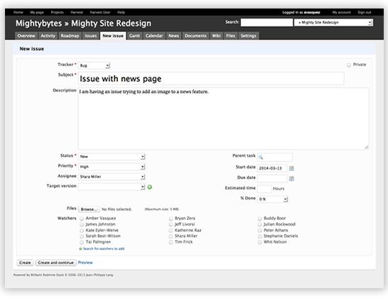 screenshot of software bug tracking system redmine