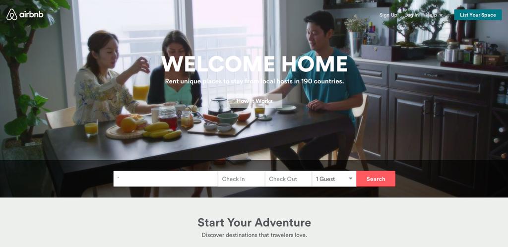screenshot of airbnb homepage design