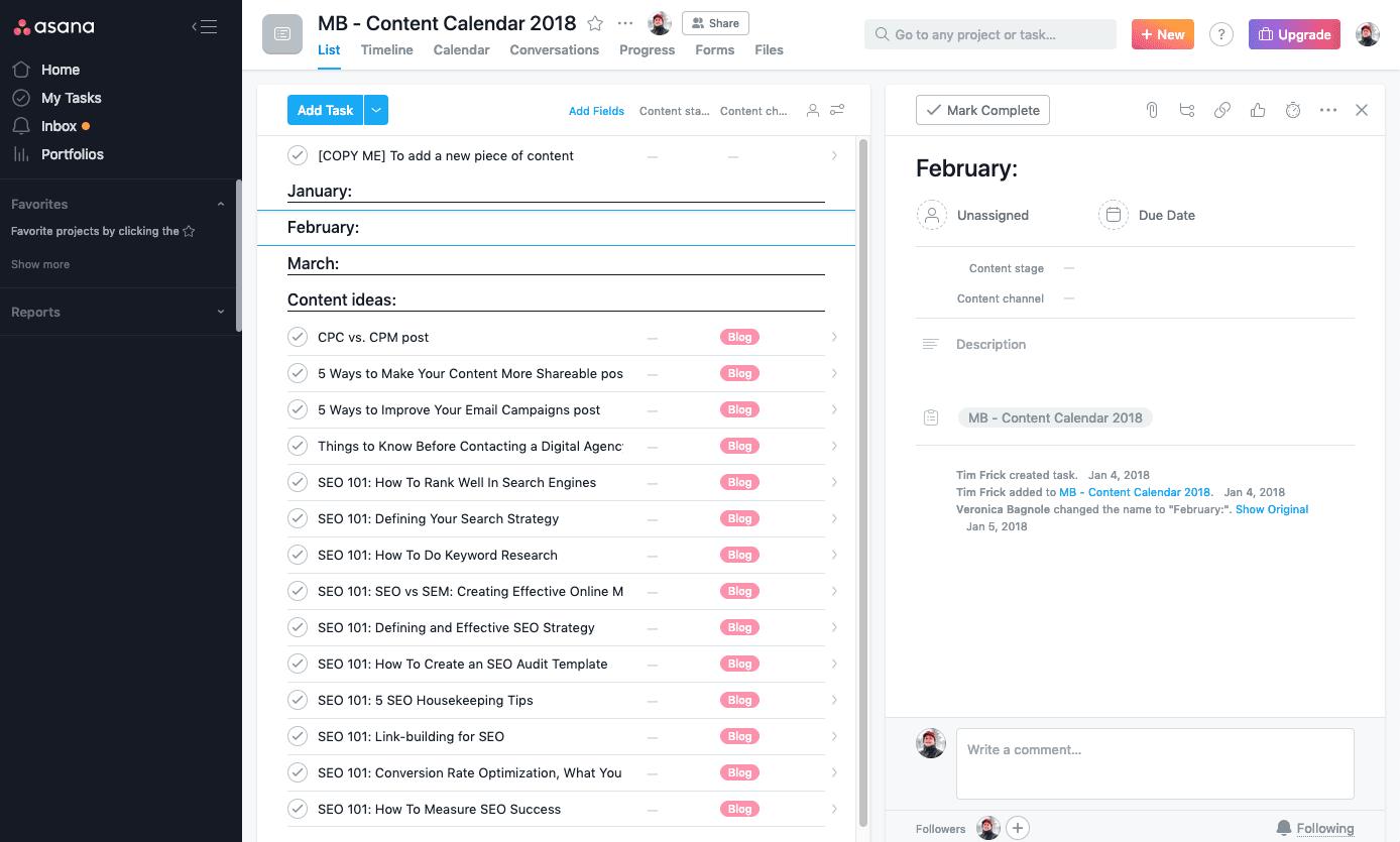 Asana content calendar template