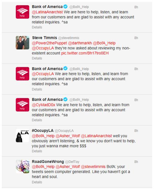 Bank of America Twitter mishap screenshot