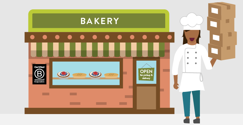 Illustration of Beatriz's bakery open for pickup & delivery