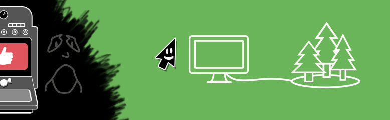 Graphic of happy cursor escaping the dark patterns and finding beautiful, green web patterns