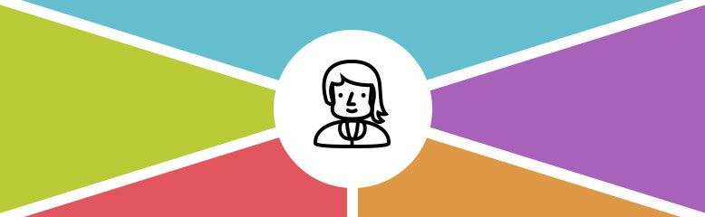 graphic personas illustration of person in white circle surrounded by 5 colored shapes
