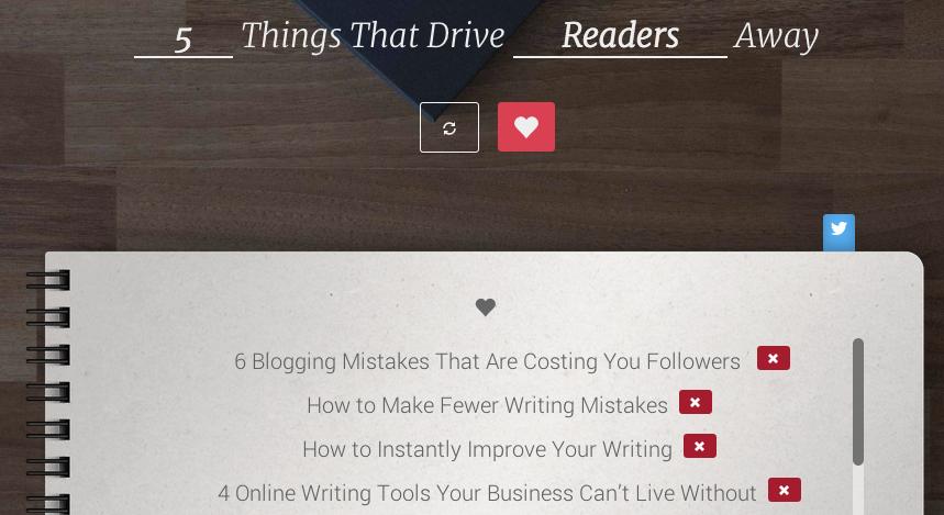 screenshot of blog title generator
