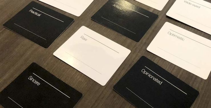 Image of brand deck cards used to define keywords during a brainstorming session