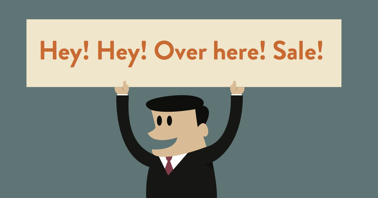 illustration of business man holding annoying sign