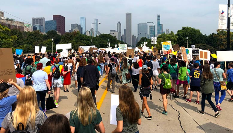 Climate Strike protestors in Chicago