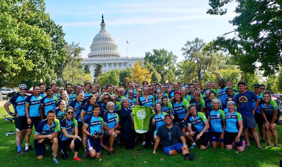 Riders from Climate Ride Red White and Blue Ridge in front of the U.S. Capitol building