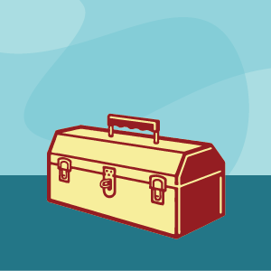 content toolkit, toolbox illustration