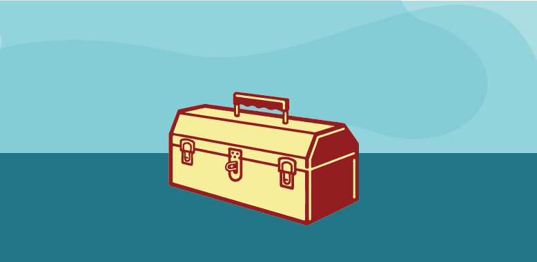 content toolkit hero image, toolbox illustration