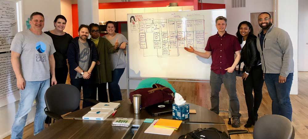 Our design sprint team at the end of a long week