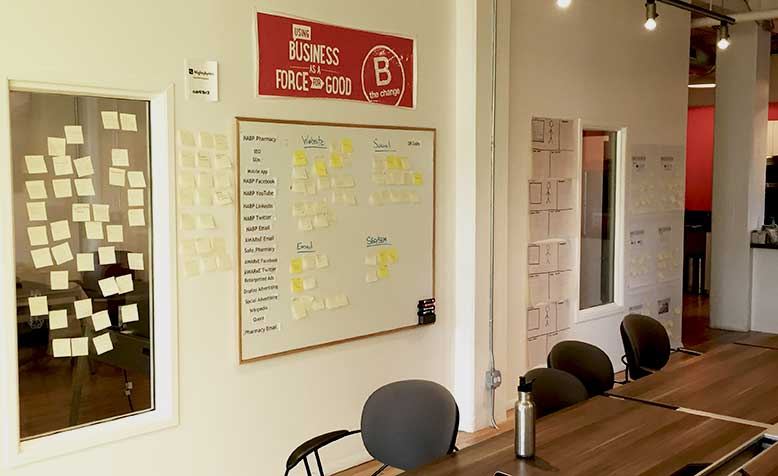 Design workshop sticky notes on a wall