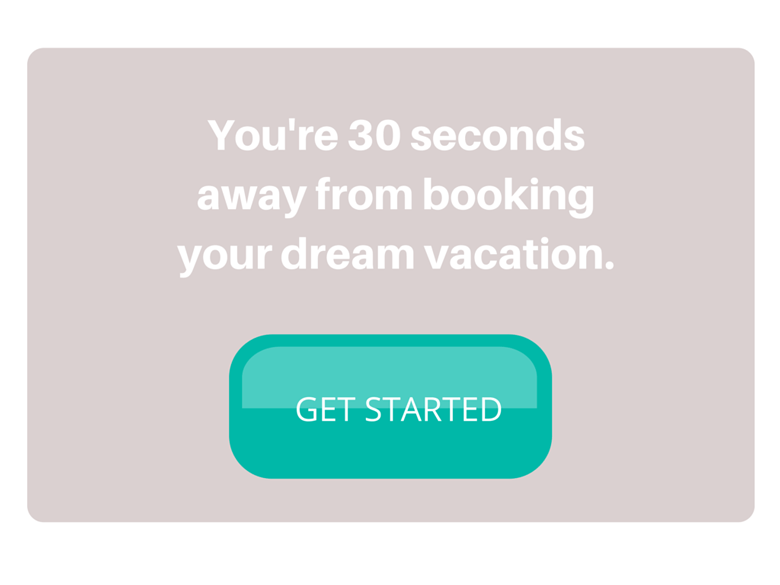 screenshot of dream vacation call to action