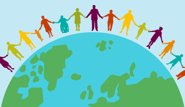 People holding hands around the earth