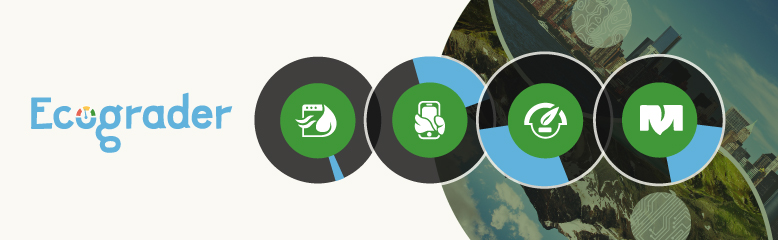 Ecograder logo with icons on top of photographic illustration showing clash of nature and technology