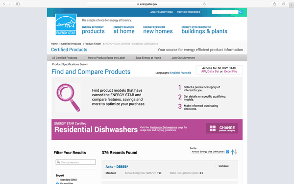 EnergyStar Sustainable Product Search