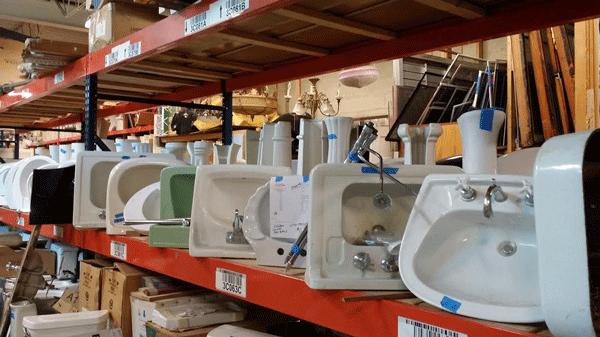 image of sinks at the evanston rebuilding warehouse