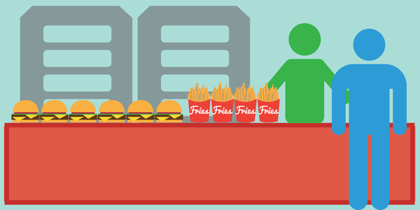 vector illustration of fast food restaurant caching showing a backed up line of hamburgers and fries at the order table