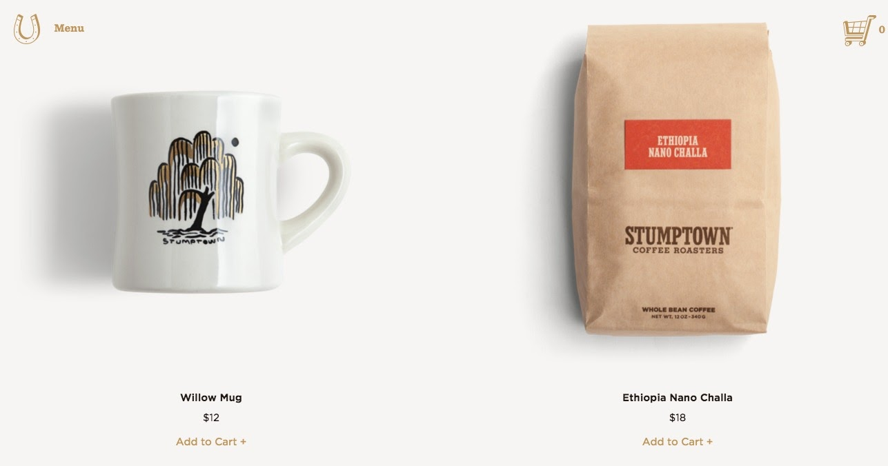 A page from Stumptown Coffee Roasters' website that shows small calls-to-action that might be hard to read for some people.