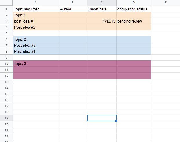 A topic-focused content calendar