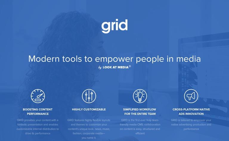 screenshot of grid homepage
