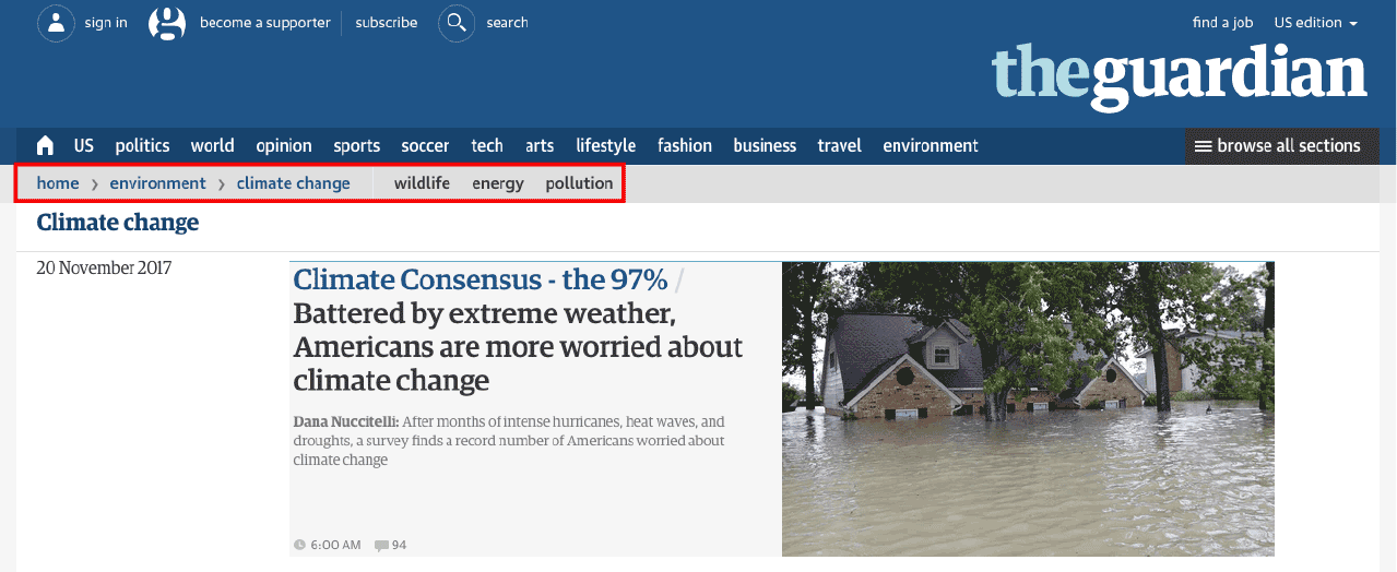 Example of breadcrumb navigation on The Guardian's website