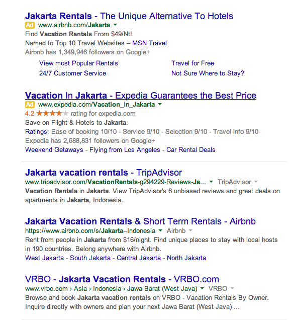 screenshot of jakarta vacation rentals search results