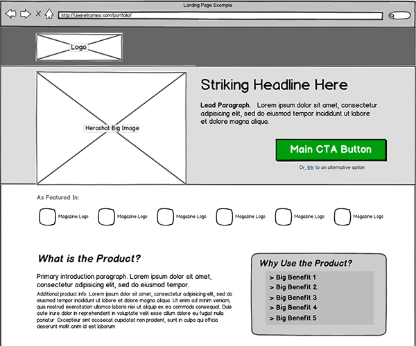 Image of landing page wireframe