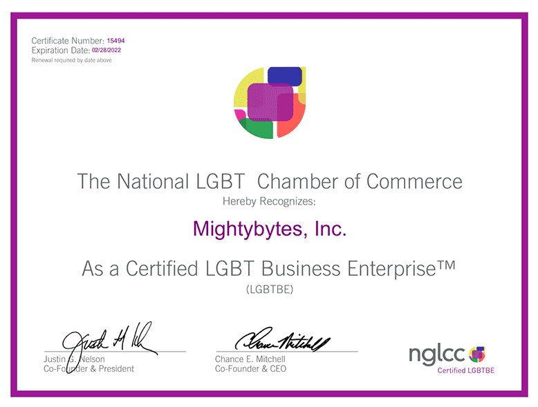 Mightybytes NGLCC Business Enterprise certificate