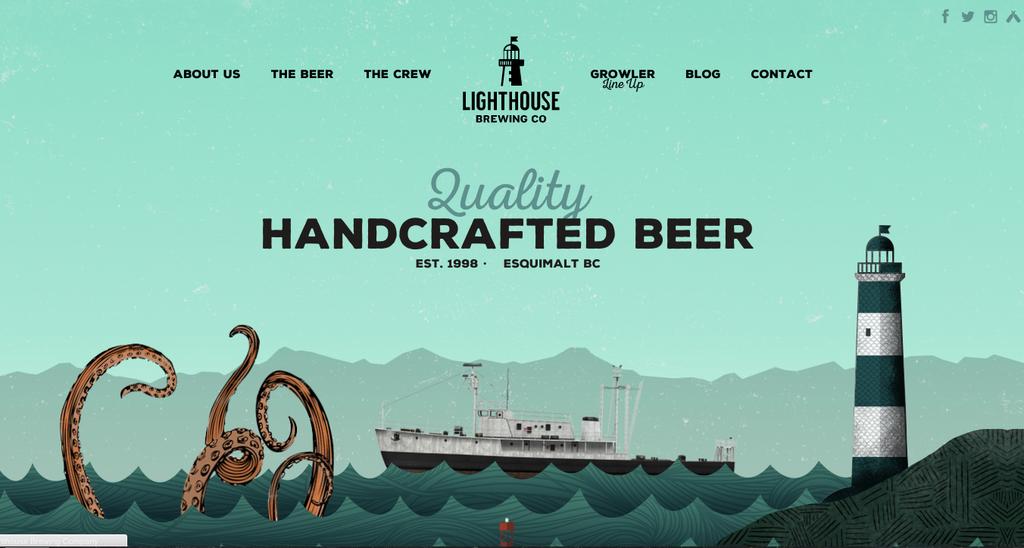 screenshot of lighthouse brewing website