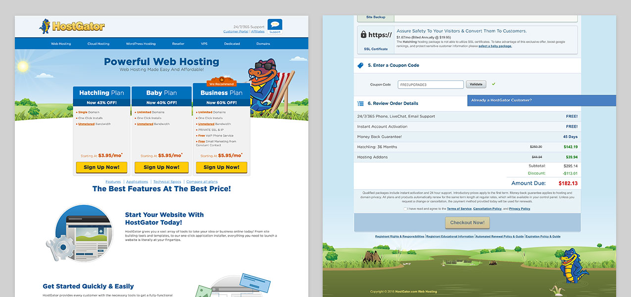 Screenshot of Host Gator's website showing how they bait and switch customers