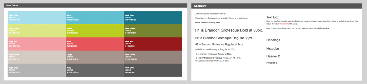 Mightybytes color palette and typography guidelines