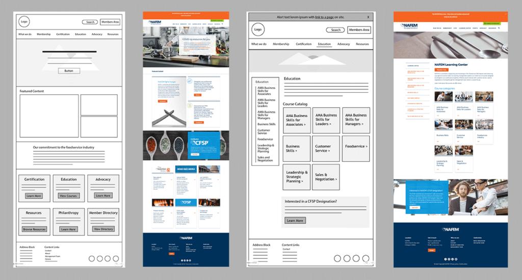 Image showing high-fidelity wireframes alongside page design mockups