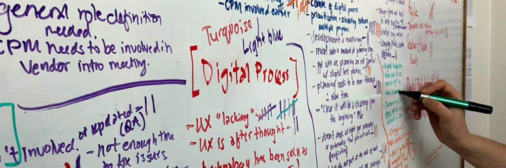 Capturing ideas in a whiteboard brainstorming session