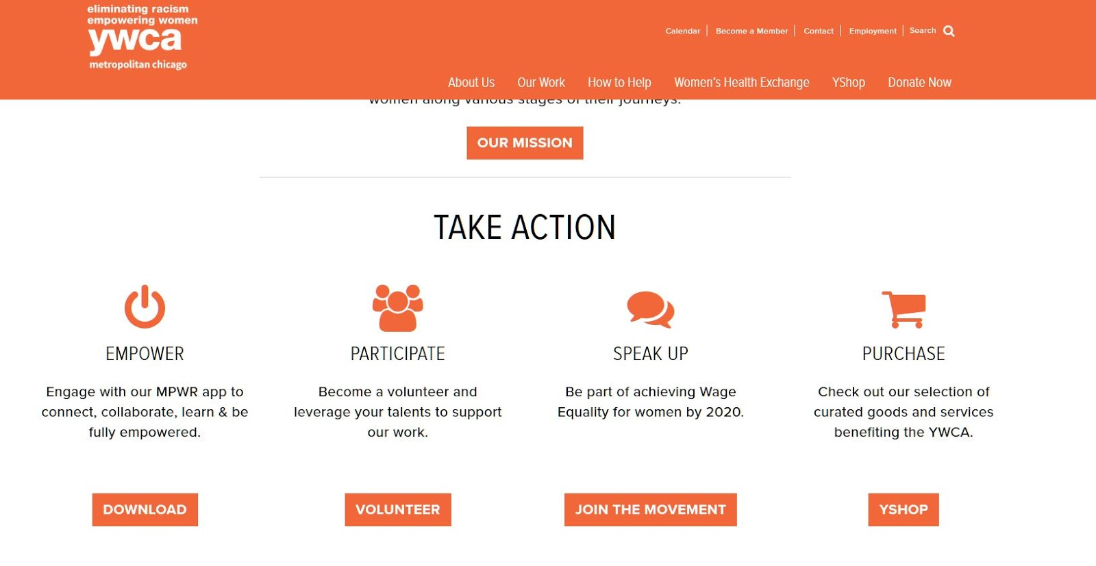 The YWCA of Metropolitan Chicago's home page showing four calls-to-action.