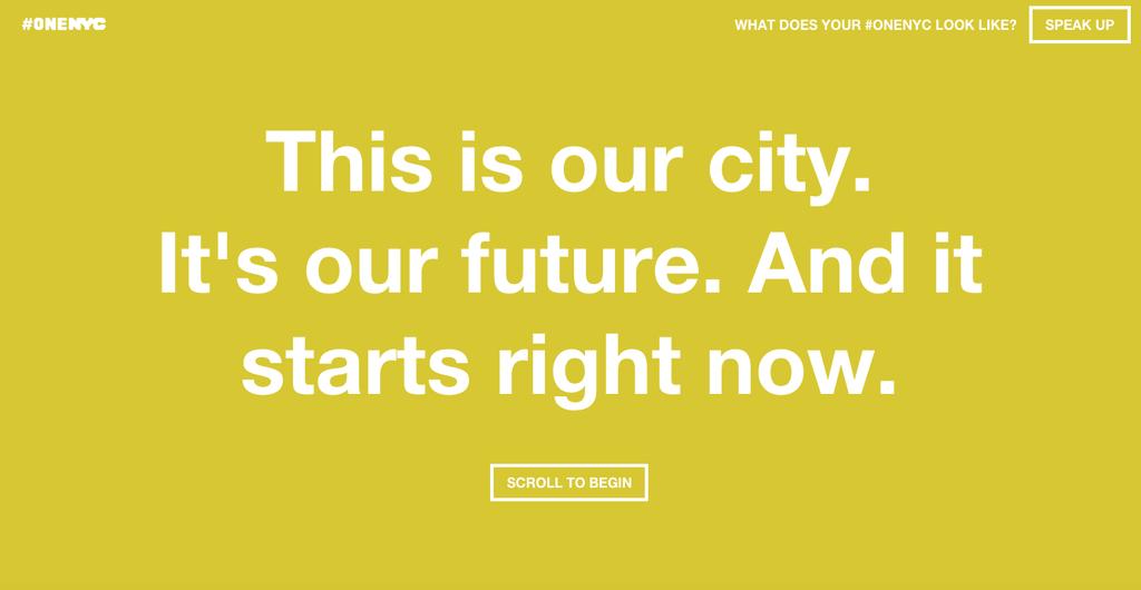 screenshot of one nyc homepage