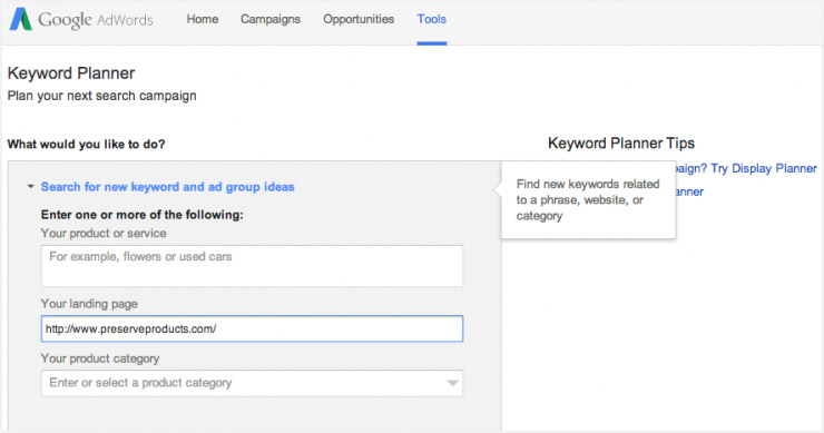 Google keyword planner screenshot
