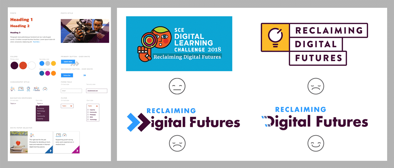 Style tile and logo iterations for the Reclaiming Digital Futures project