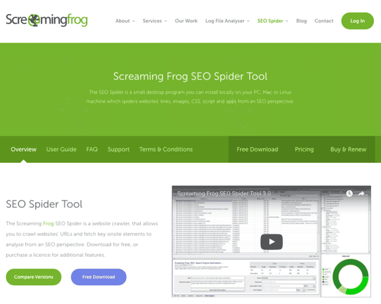 Screenshot of Screaming Frog website