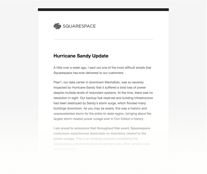 letter to customers from squarespace hurricane sandy