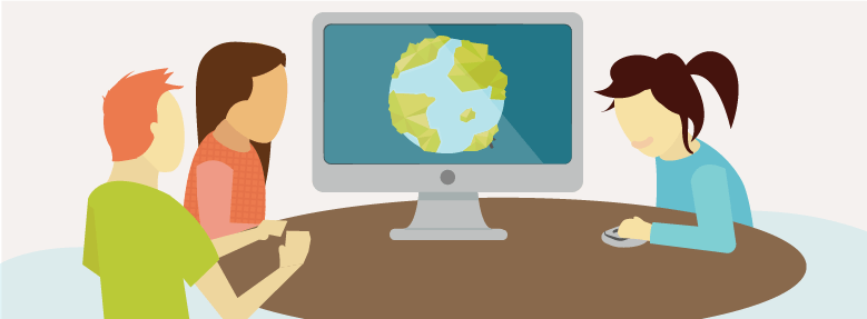 Sustainability Storytelling Hero: people around a table looking at a screen with a globe on it