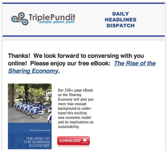 screenshot of Triple Pundit email drip campaign