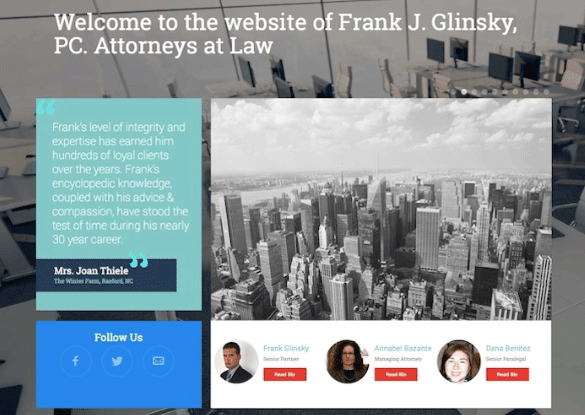 Screenshot of homepage for Frank J. Glinsky, PC. Attorneys at Law