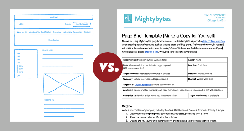 Illustration showing a wireframe and a page brief side-by-side.